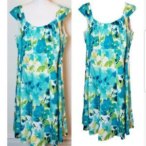 Dress Barn Summer Floral Watercolor Print Dress